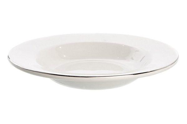 "Soup/Pasta Bowl Rimmed 8.5"" Silver Line (packs of 10)"