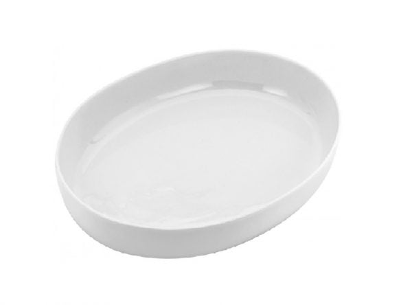 "China Veg Dish 9"" Oval Plain White"